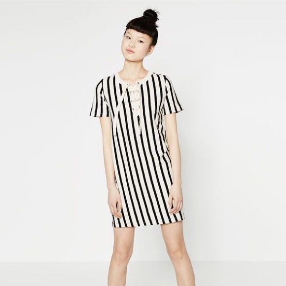 ee2c89bc609e Zara Dresses | Nwt Vertical Striped Laceup Dress | Poshmark